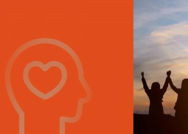Mental Health Web Banner with a group of people raising their arms at sunrise